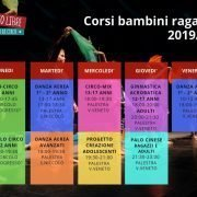 Calendario corsi bambini e ragazzi 2019/20