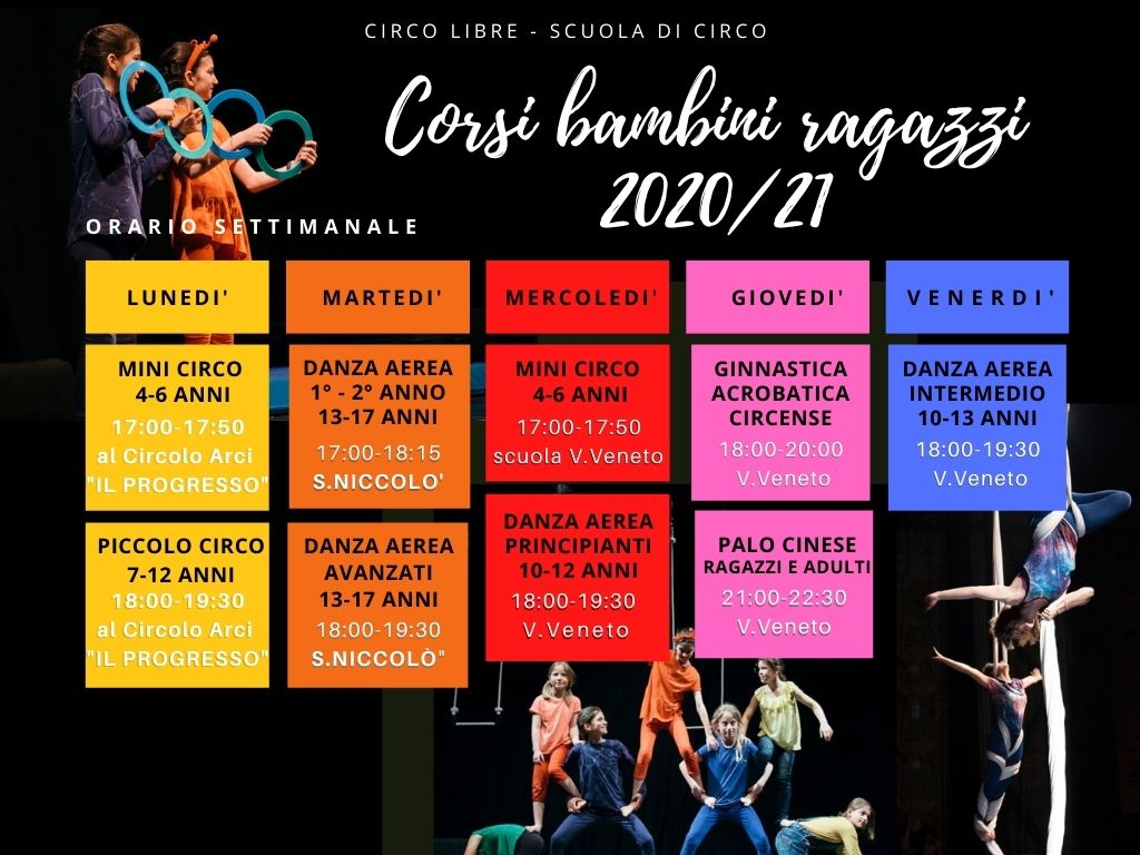 calendario corsi annuali bambini e ragazzi 2020/21